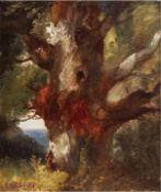 """Douzette, Louis (1834 Triebsees-1924 Barth) """"Blick vom Königsstuhl auf Rügen"""", um 1860,Öl/"""