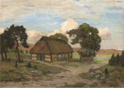 """Müller-Kaempff, Paul (1861 Oldenburg-1941 Berlin) """"Norddeutsche Landschaft mitReetdachhaus"""","""