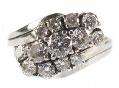 Brillant-Ring, 585er WG, besetzt mit 13 Brillanten von zus. ca. 1,55 ct, RG 47