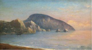 """Russischer Maler um 1900 """"Ayu Dag- Krim"""", Öl/Holz, monogr. """"IG"""", Umkreis Aiwasowski,rückse"""