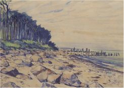 "Tschirch, Egon (1889 Rostock-1948 Rostock) ""Ostseestrand"", Aquarell, sign. und datiert '47u.l"