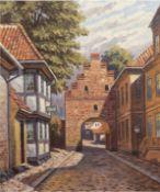 "Albertsen, Valdemar (1868-1954) ""Vor dem Stadttor"", Öl/Lw., sign. u.r., 62x50 cm, Rahmen"