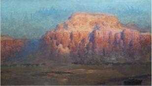 "Schlubeck, Arthur (1875-ca. 1945) ""Der Ayers Rock im National Park in Australien"", Öl/Lw.,si"