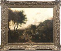 """Landschaftsmaler 18. Jh. """"Romantische Landschaft mit Personenstaffage"""", Öl/Lw., unsig.,rück"""