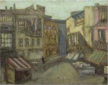 "Carstensen, Ebba ""Häuser"", Öl/Lw., unsign., rückseitig auf Rahmen bez., 50x61,5 cm"