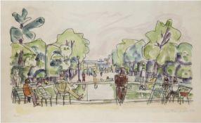 """Hauptmann, Ivo (1886 Erkner-1973 Hamburg/Dresden) """"Park in Paris"""", Aquarell, handsign. u.dat."""