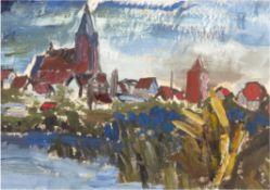 """Weyl, Hans (1925 Heiligenbeil (Ostpreußen)-1994 Barth) """"Ansicht von Barth"""", Acrylmalerei,30x40 cm,"""