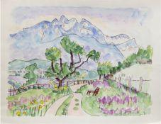 "Hauptmann, Ivo (1886 Erkner-1973 Hamburg/Dresden) ""Landschaft in Lugano im Kanton Tessin"",Aquarell/"