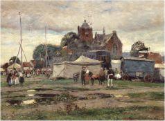 """Hermanns, Heinrich (1862 Düsseldorf-1942 ebenda) """"Zirkus vor dem Dorf"""", Öl/Lw., sign.u.r., 41,5x52"""