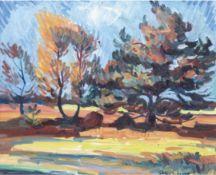 "Eggers, Richard (1905 Wilster- 1995) ""Expressive Landschaft mit Baumgruppe"", Öl/Hf.,signiert und"