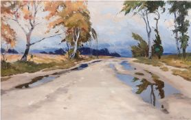 "Droege, Oscar (1898 Hamburg-1982 ebenda) ""Herbstlandschaft"", Öl/Lw., sign. u.r., 40,5x60 cm, Rahmen"