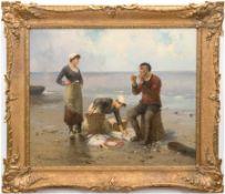 """Psalmon, M. (Frankreich Ende 19. Jh.) """"Fischersleute mit Fang am Strand"""", Öl/Lw., signiert und dati"""