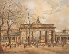 "Bönisch ""Berlin - Brandenburger Tor"", Öl/Hf., sign. und bez. u.l. 51x60 cm, Rahmen"