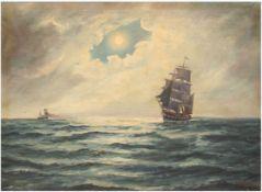 """Rygaard, Thorvald (1872-1939) """"Segelschiffe in der Abenddämmerung"""", Öl/Lw., sign. u.r. und dat. 191"""