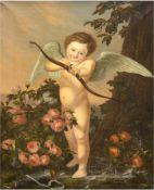 "Unbekannter Künstler ""Amor"", Öl/Lw., unsign., Knickfalte im oberen linken Bereich, 85x65 cm, Rahmen"