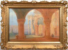 """Laeisz, Carl Martin (1803 Hamburg-18654 ebenda) """"Piazza San Marco, vom Dogenpalast aus"""", Aquarell/P"""
