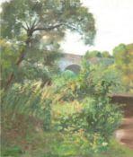 "Tübbecke, Paul Wilhelm (1848 Berlin-1924 Weimar) ""Brücke in bewaldeter Landschaft"", Öl/Lw., sign. u"