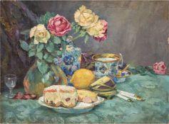 """Eibl """"Stilleben mit Rosenstrauß in Vase, Früchten und Tasse auf dem Tisch"""", Öl/Lw., undeutl sign. u"""