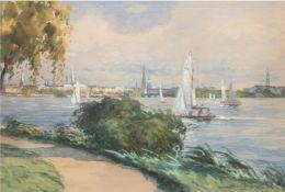 """Burkhardt, Hans Gustav (1904 Basel-1994 Los Angeles) """"Binnenalster in Hamburg"""", Aquarell, sign. u.r"""