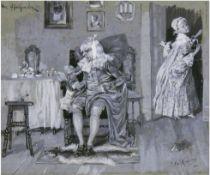 """Reinicke, Paul René (1860 Strenznaundorf- 1926 Wildsteig) """"Der Hypochonder"""", Feder und Gouache/Papi"""
