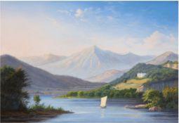 "Maler des Ende 19. Jh. ""Schloss über einem Bergsee"", Öl/Lw., unsign., 37,5x49 cm, Rahmen"