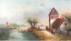 """Holländischer Maler um 1900 """"Hölländische Polderlandschaft mit Häusern und Personen"""", Öl/Karton, un"""