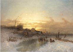 """Holländischer Maler des 19. Jh. """"Abend auf dem Eis"""", Öl./Lw., unsign., 55x75 cm, Rahmen"""