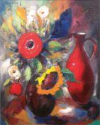"Stillebenmaler 2. H. 20. Jh. ""Blumenstilleben mit Krug"", Öl/Lw., undeutl. sign. o.l., 100x80 cm, Ra"