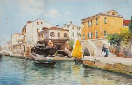 "Palanti, Guiseppe (1881 Mailand-1946 ebenda) ""Venedig"", Aquarell, sign. u.r., stockfleckig, 32,5x49"