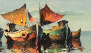 "Runge, Jürgen (1929 Stettin-1992 Cismar) ""Ruhe an Bord"", Öl/Lw./Sperrholz, sign. u.r., 40x64 cm, Ra"