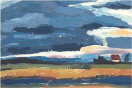 """Weyl, Hans (1925 Heiligenbeil/Ostpreussen-1994 Barth) """"Landschaft"""", Öl/Hf., unsign., rücks. Nachlaß"""