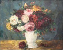 """Zscheked, Richard (1885 Weinböhla-1954 Schwerin) """"Stilleben mit Rosenstrauß in Vase"""", Öl/Karton, si"""