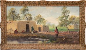 """""""Afrikanisches Dorf"""", Öl/Hartfaser, unsign., div. kl. Farbabplatzungen, 45,5x80 cm, Rahmen"""
