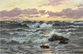 """Kalckreuth, Patrick von (1892 Starnberg-1970 München) """"Meeresbrandung mit Felsen"""", Öl/Lw., sign. u."""