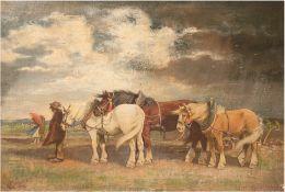 """Berg, Walter (1906 Solingen-1982 ebenda) """"Pferde im aufkommendem Sturm"""", Öl/Lw., sign. u.l., 58x78"""