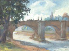 "Neumann, E. ""Elbbrücke bei Dresden"", Aquarell, sign. u.dat. 1947 u.l., 27x37 cm, hinter Glas im Pas"