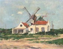 """Hambüchen, Wilhelm (1869 Düsseldorf-1939 Düsseldorf) """"Gehöft mit Windmühle"""", Öl/Lw., sign. u.l., 41"""