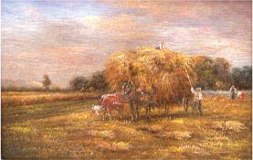 """Süddeutscher Maler um 1950 """"Heuernte in den Voralpen"""", Öl/H., unsign., 12,5x17,5 cm, Rahmen"""