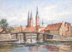 """Matern, Hans Werner (1906 Rostock-1996 Lübeck) """"Lübeck"""", Öl/Hartfaser, sign. u.r. und dat. 1950, 29"""