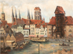 """Danzig - Kranentor"", Öl/Mp., unsign., 56,5x74,5 cm, Rahmen"