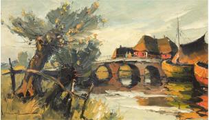 "Runge, Jürgen (1929 Stettin-1992 Cismar) ""Hafenidylle"", Öl/Lw./Sperrholz, 40x64 cm, Rahmen"