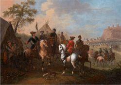"""Paar Altmeister 17. Jh., im Stil von Wouwermann, Philips oder Huchtenburgh, Jan van """"Kriegsszene mi"""