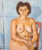 """Hauptmann, Ivo (1886 Erkner-1973 Hamburg/Dresden) """"Auf Stuhl sitzender weiblicher Akt"""", Öl/Lw., mon"""