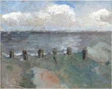 """Maris (Maler 19./20. Jh.) """"Seestück bei Scheveningen"""", Öl/Lw./Holz, Ritzsign. u.l. und dat. 1910,"""