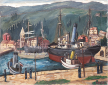 "Lemke, Rudolf Hermann (1906 Gollnow-1957 in Jena) ""Hafenansicht"", Öl/Lw., sign. u. dat. '31? u.r.,"