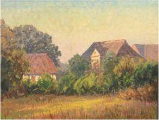 """Petersen-Kiel, Heinrich (1881 Schleswig-1955 Kiel) """"Hof im Grünen"""", Öl/Lw., sign. u.r., 75x100 cm,"""