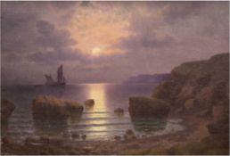 """Shevtsov (Russisch-ukrainischer Maler, 1. Hälfte 20. Jh.) """"Abendstimmung am Schwarzen Meer bei Odes"""