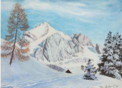 "Ascherl, Toni (1897-1966) ""Süddeutsche Landschaft- Der Schaftberg im Winter"", Aquarell, sign., bez."