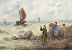 """Dylon, R.? """"Anlandende Fischer"""", Öl/Lw., sign. u.l., 70x95 cm, Rahmen"""