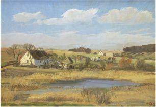 """""""Landschaft mit Gehöft am Teich"""", Öl/Lw., undeutl. monogr. u.r. und dat. 1939, 1 Hinterlegung, 50x6"""